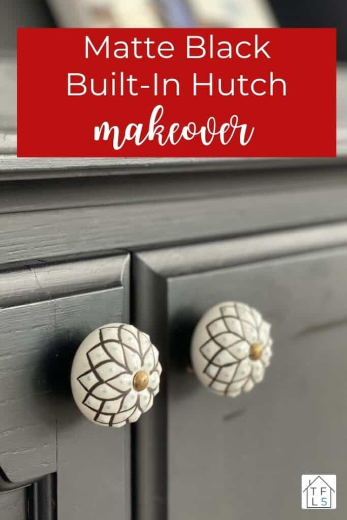 Beautiful Built-in Hutch Makeover with Matte Black Paint 2