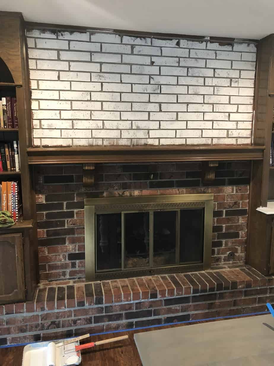 primed brick fireplace