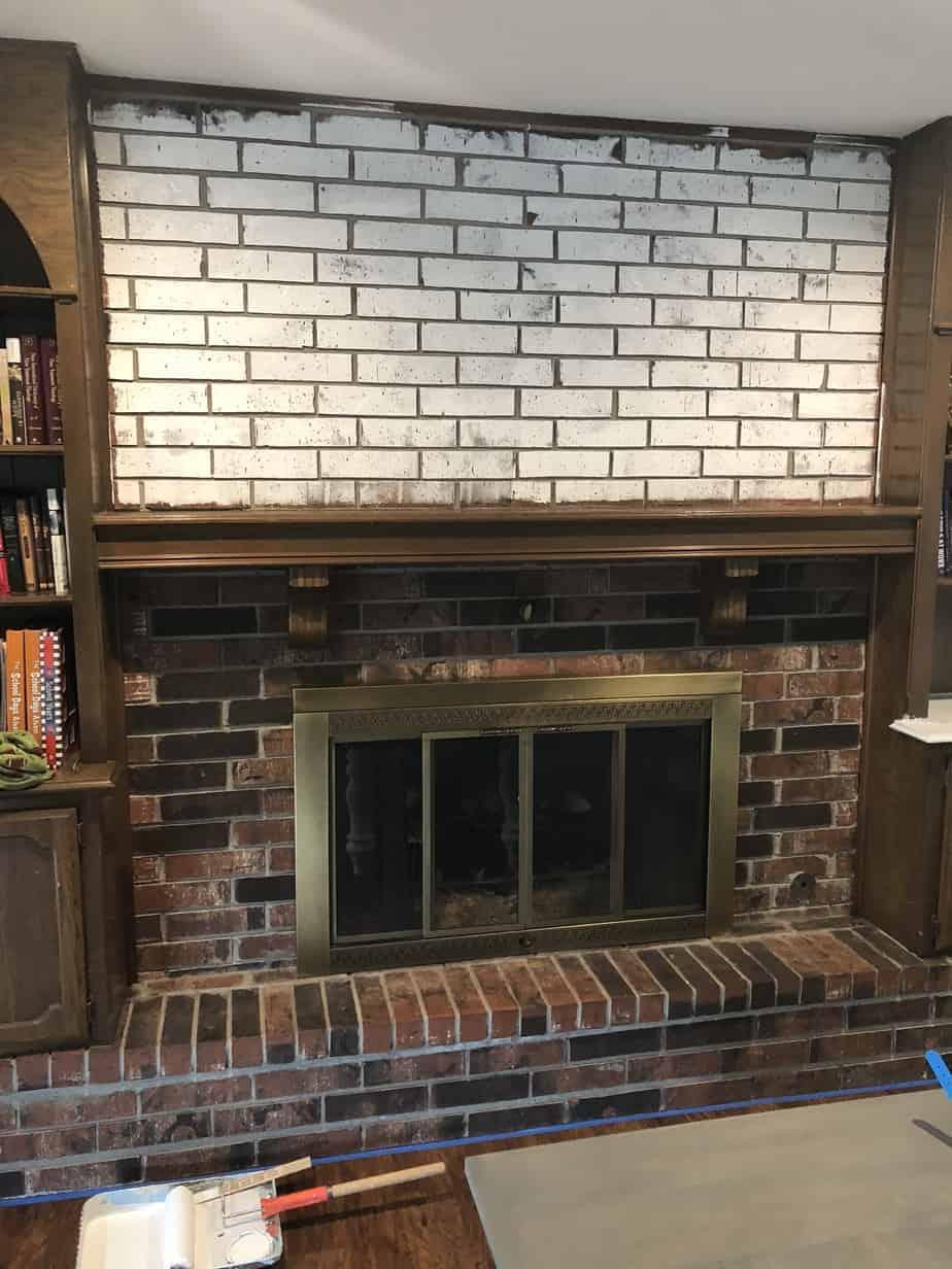 primed brick fireplace