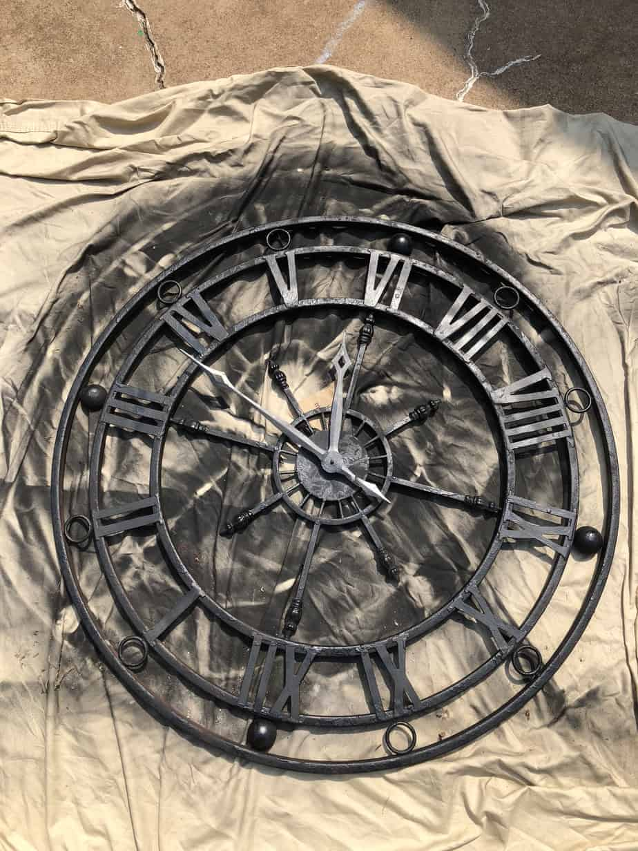 spray painted clock