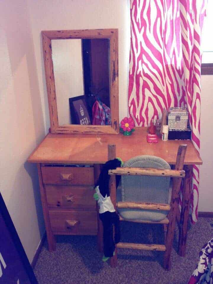 Wood desk, mirror, and chair