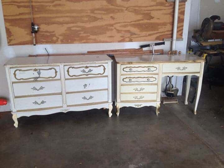 french provincial dresser and desk
