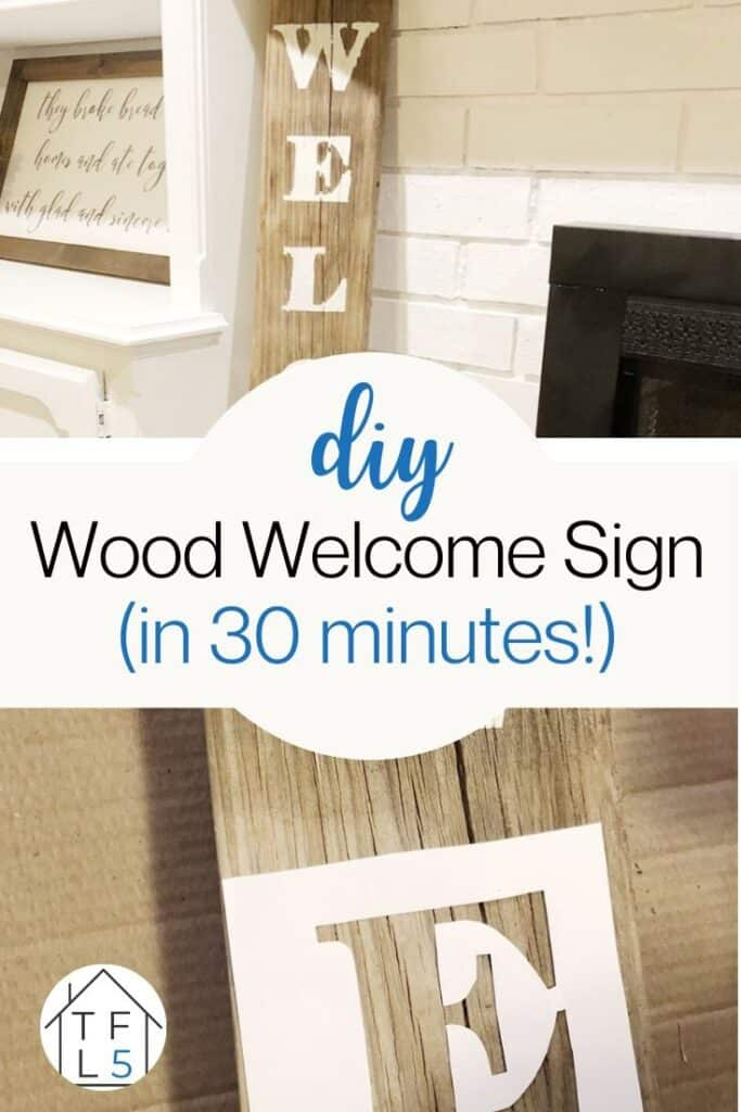DIY wood welcome sign