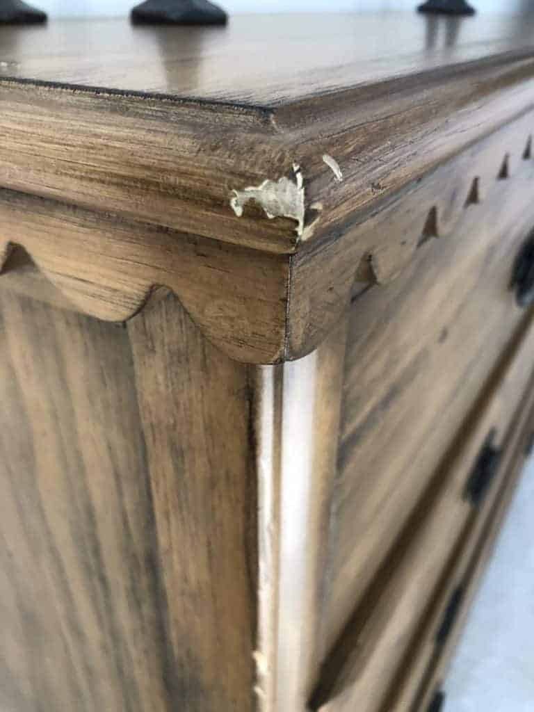 wood veneer on magnolia dresser