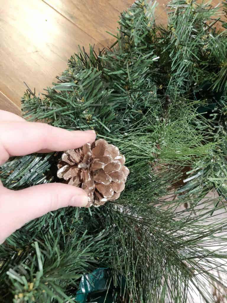 pinecones on wreath