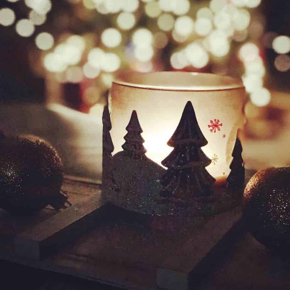Christmas candle lighted