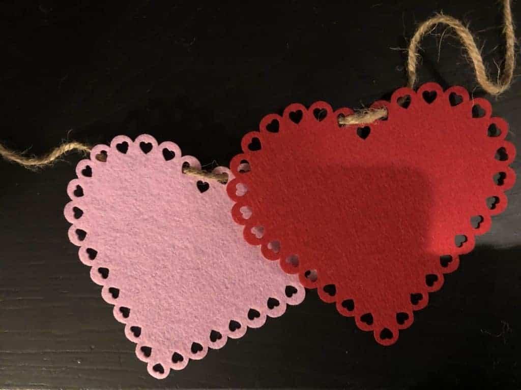 jute string through felt hearts