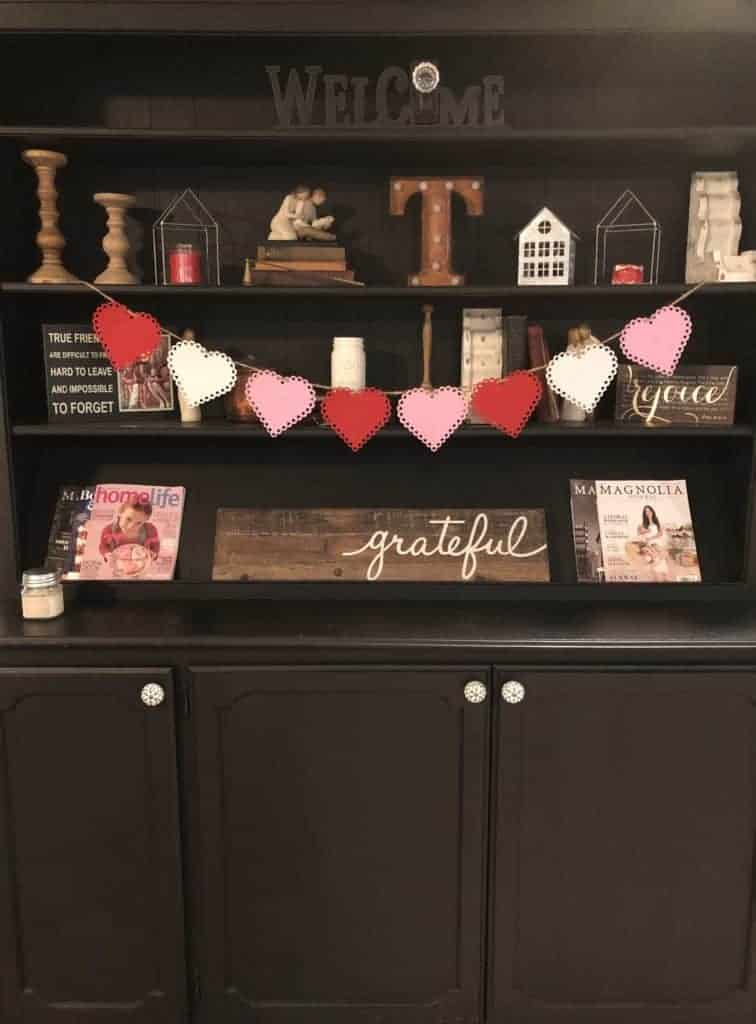 valentine banner across hutch