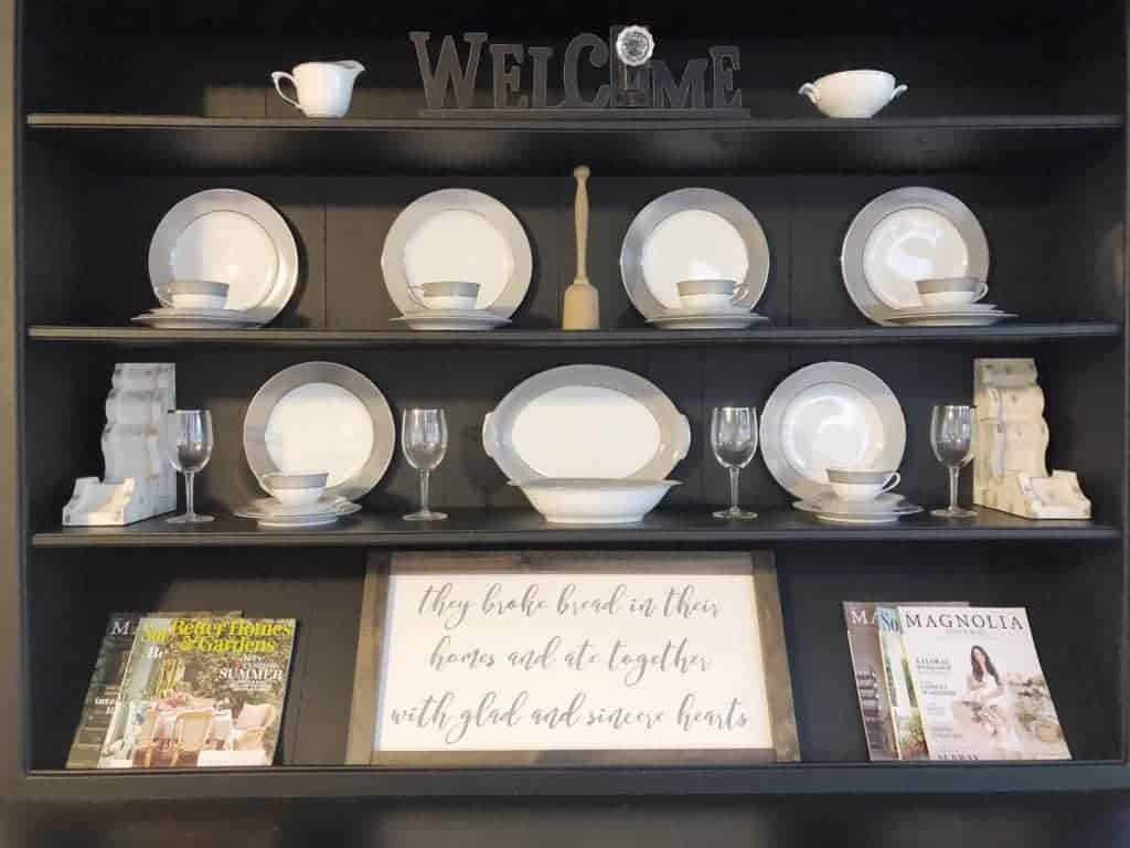 hutch with displaying china