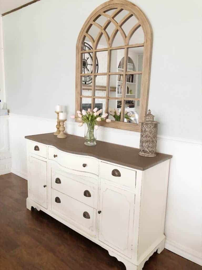 buffet with Kirkland's arched mirror