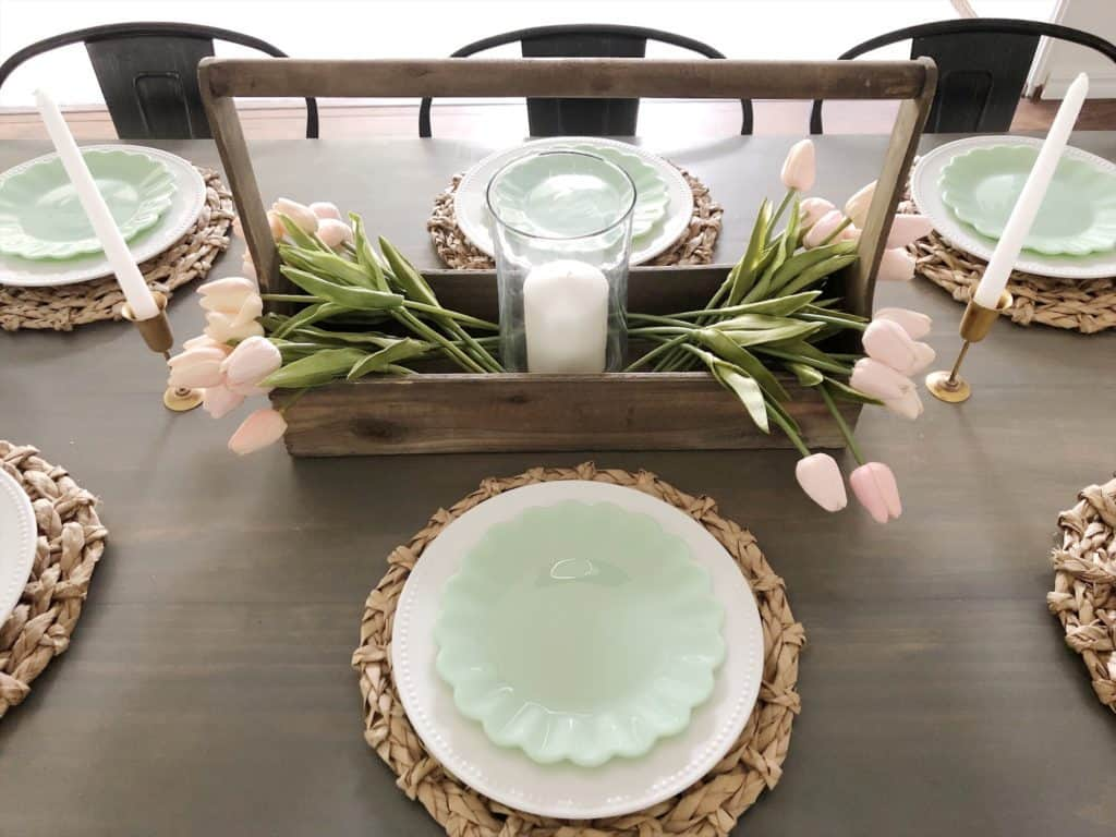 spring tablescape centerpiece