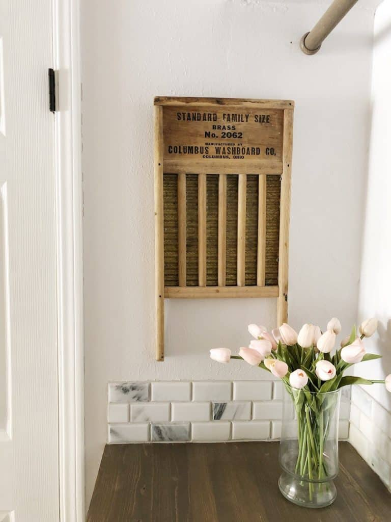 vintage washboard with flowers