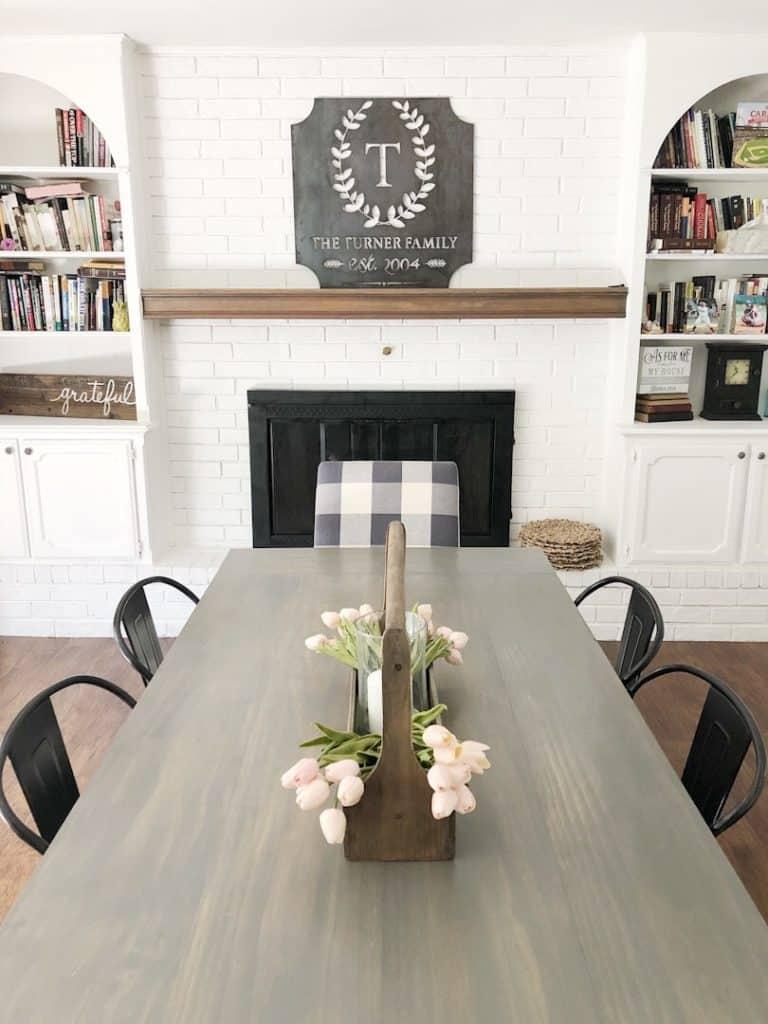 custom metal sign in dining room