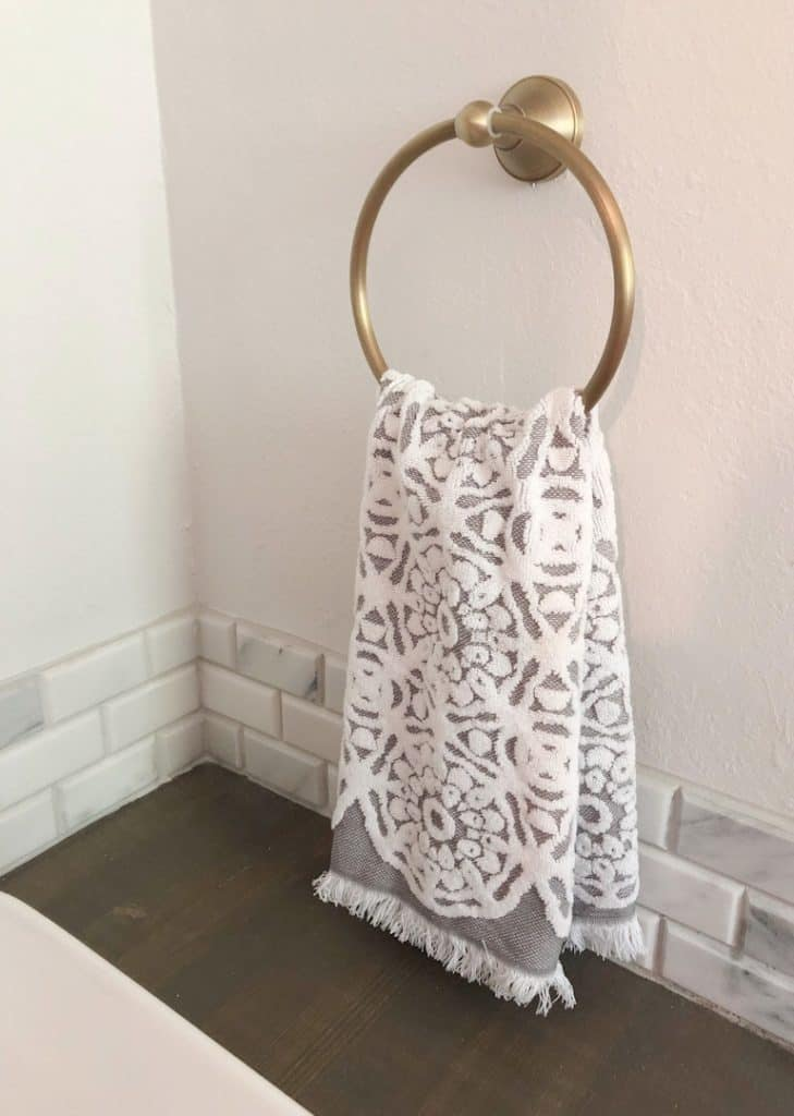 hand towel on towel ring