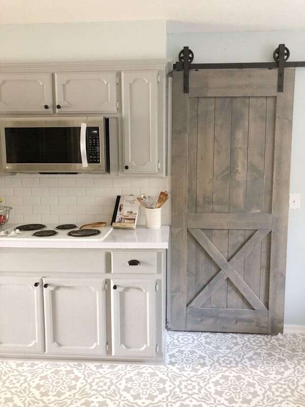 barn door in kitchen