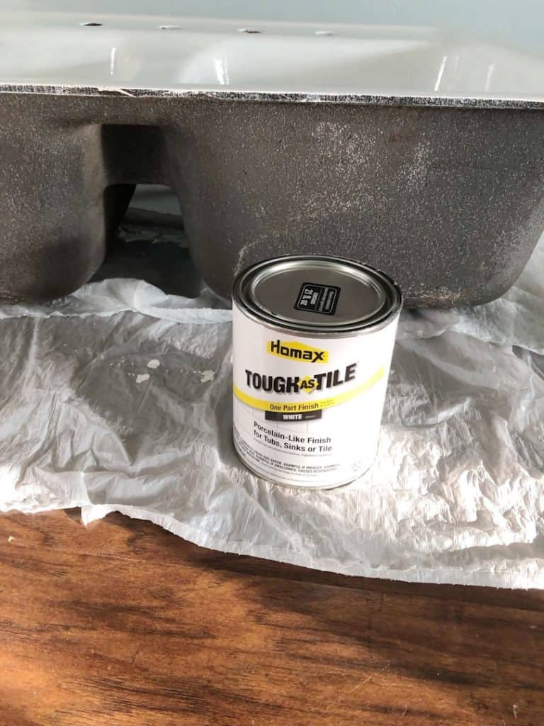 Resurface kitchen sink with Tough and Tile