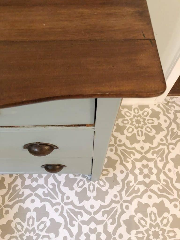 top view of antique dresser