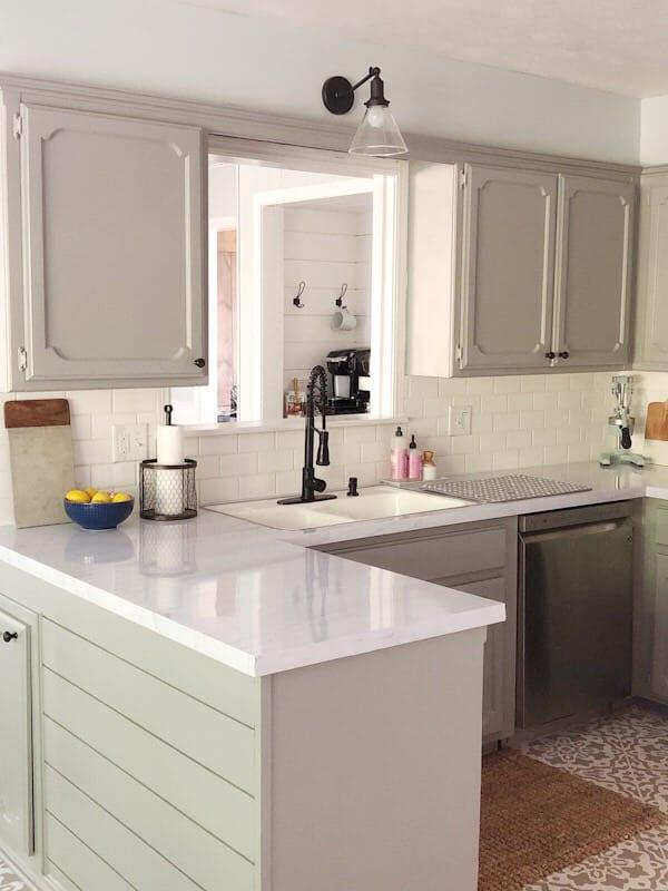 shiplap peninsula in kitchen