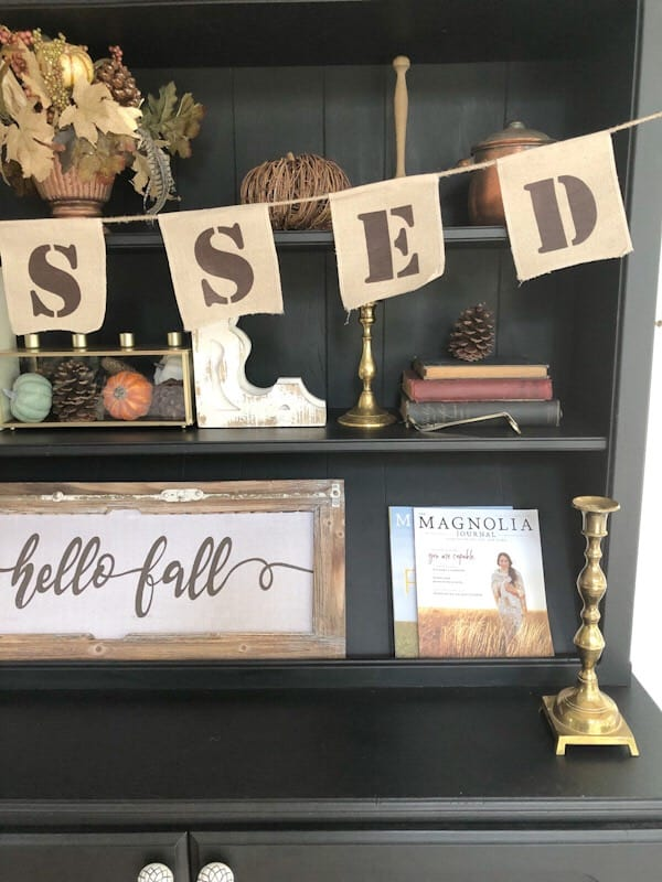black hutch styled for fall