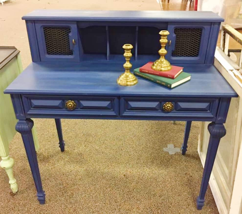 Desk painted in dark blue