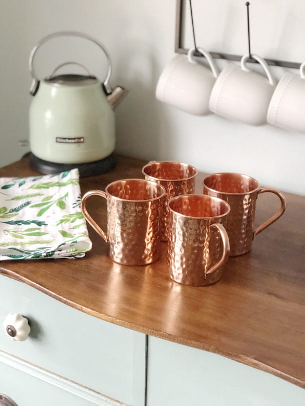 copper hammered mugs