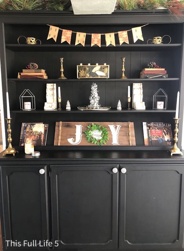Christmas decorated hutch