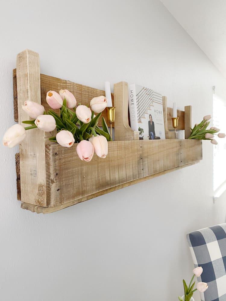 Styled pallet wood shelves