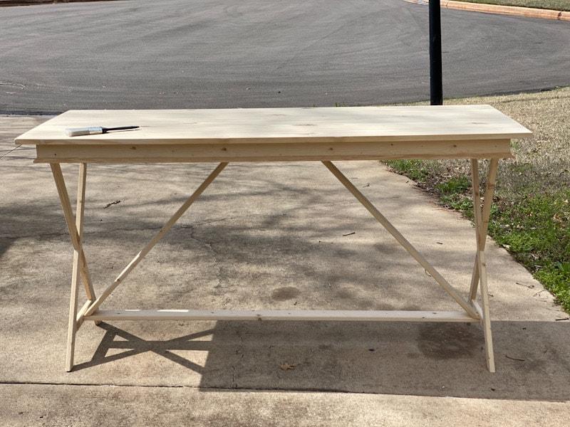 unfinished wood desk