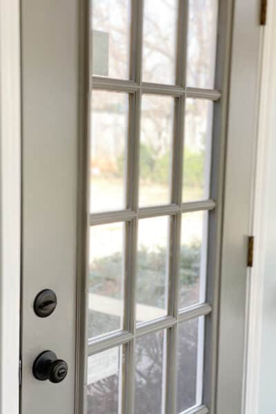 door with windows painted gray