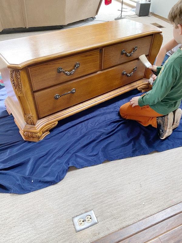oak cedar chest on blue sheet