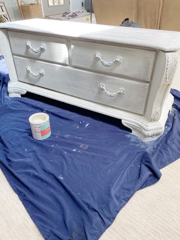 cedar chest with one coat of chalk paint