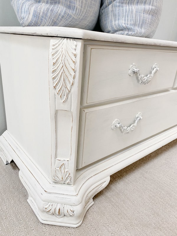 painted cedar chest with distressed detail