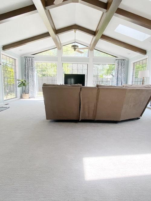 large beams in living room