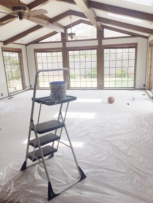 ladder in large sun room