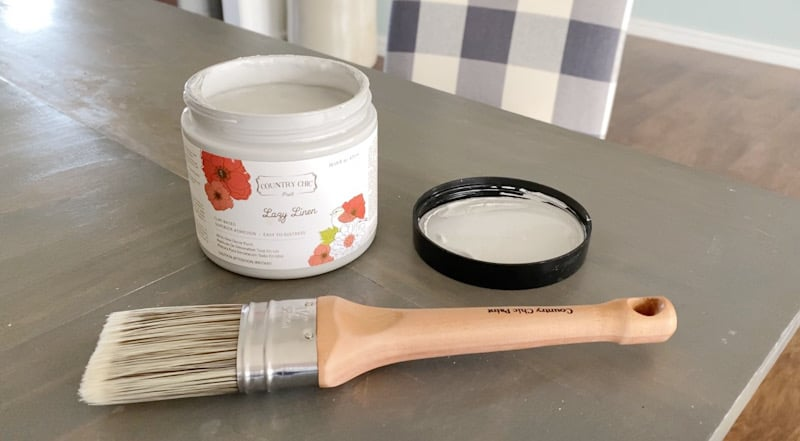 Gray chalk paint with brush