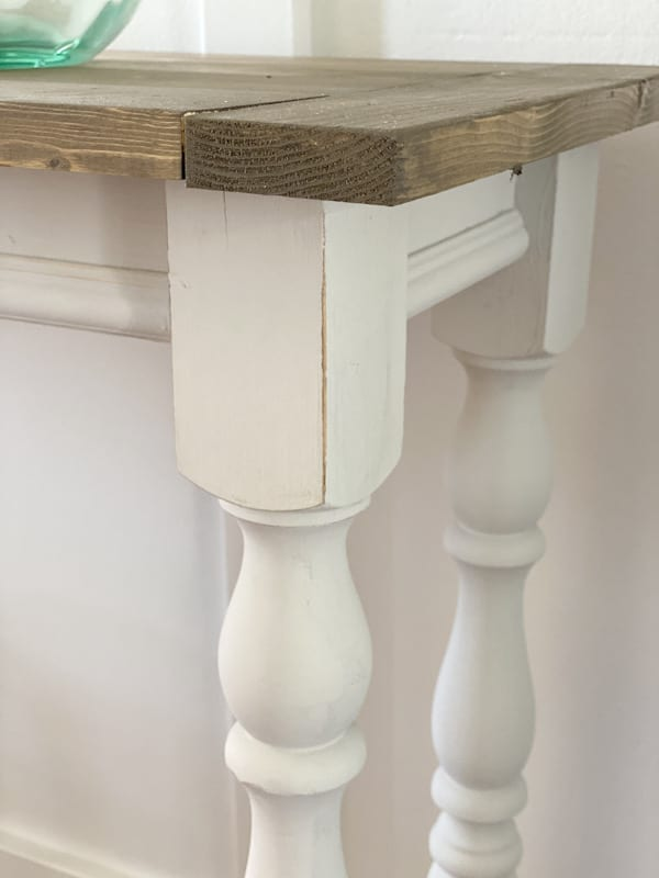 close up of table base