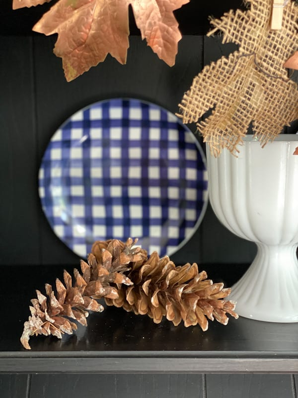 pinecones with buffalo check plate