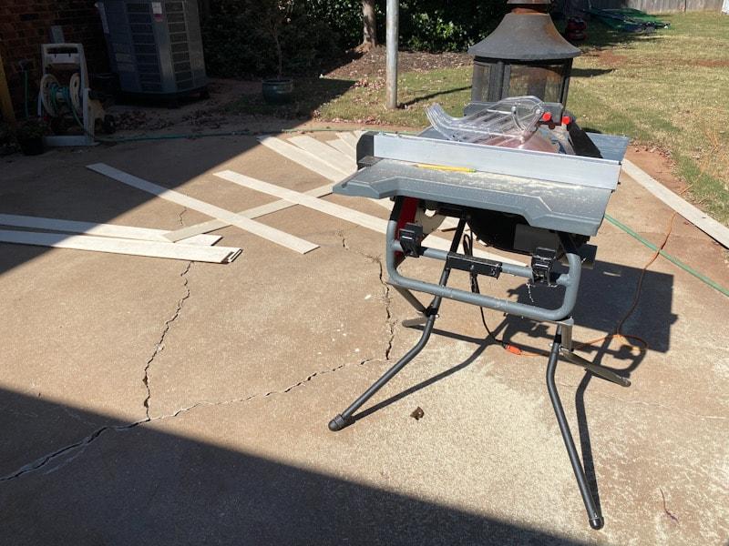 table saw on concrete patio