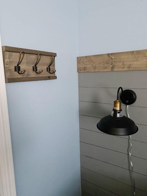 coat rack and wall light
