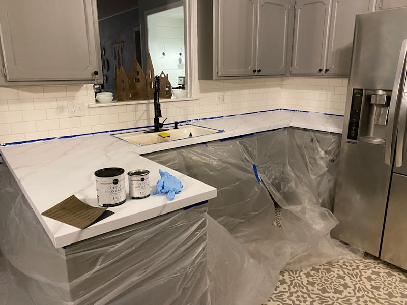 plastic over cabinets