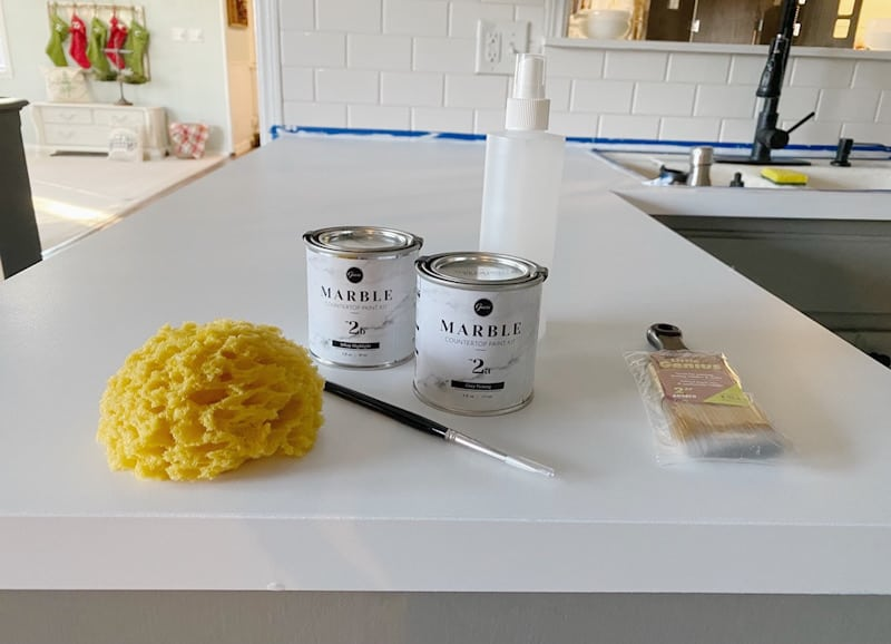 paint cans on countertop