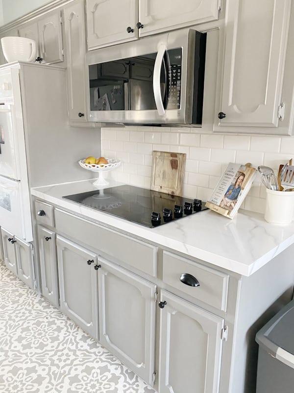 white subway tile in kitchen