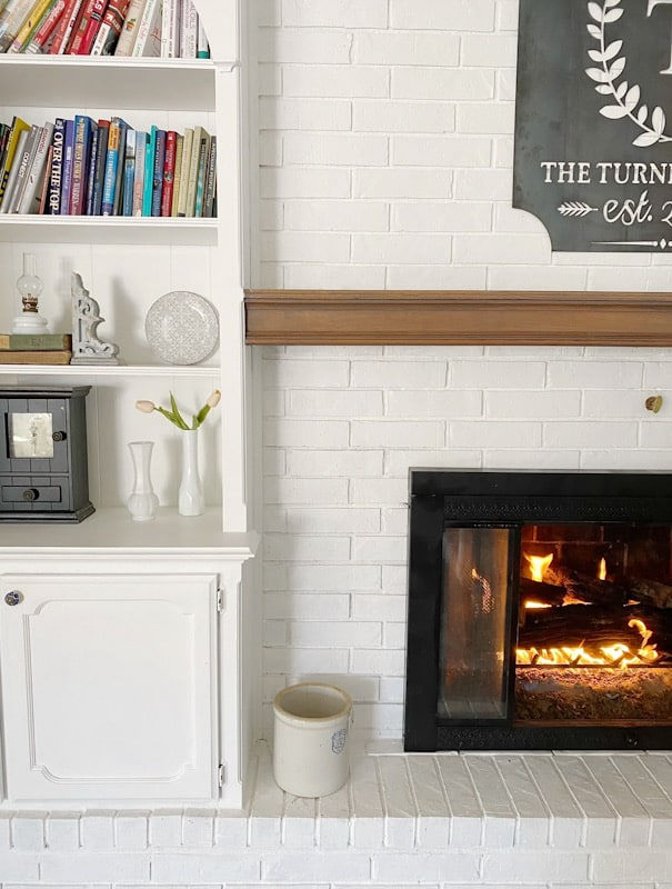Easy DIY Painted Brick Fireplace 5