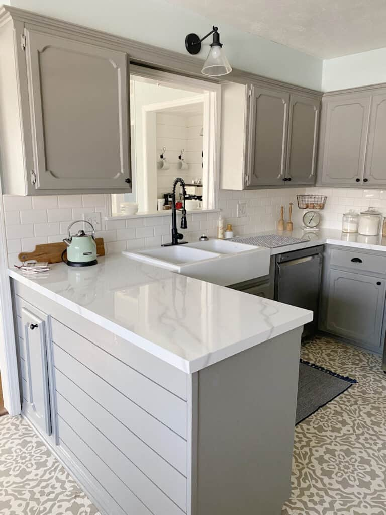 White double bowl farmhouse sink